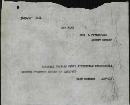 Cyril Fitzgerald telegram